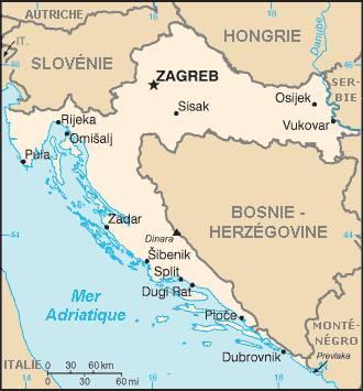 Carte de la Croatie - version simple