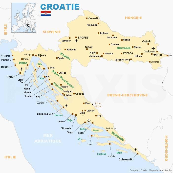 Carte Croatie Lonely Planet.Carte De La Croatie Cartes Et Informations Sur La Croatie