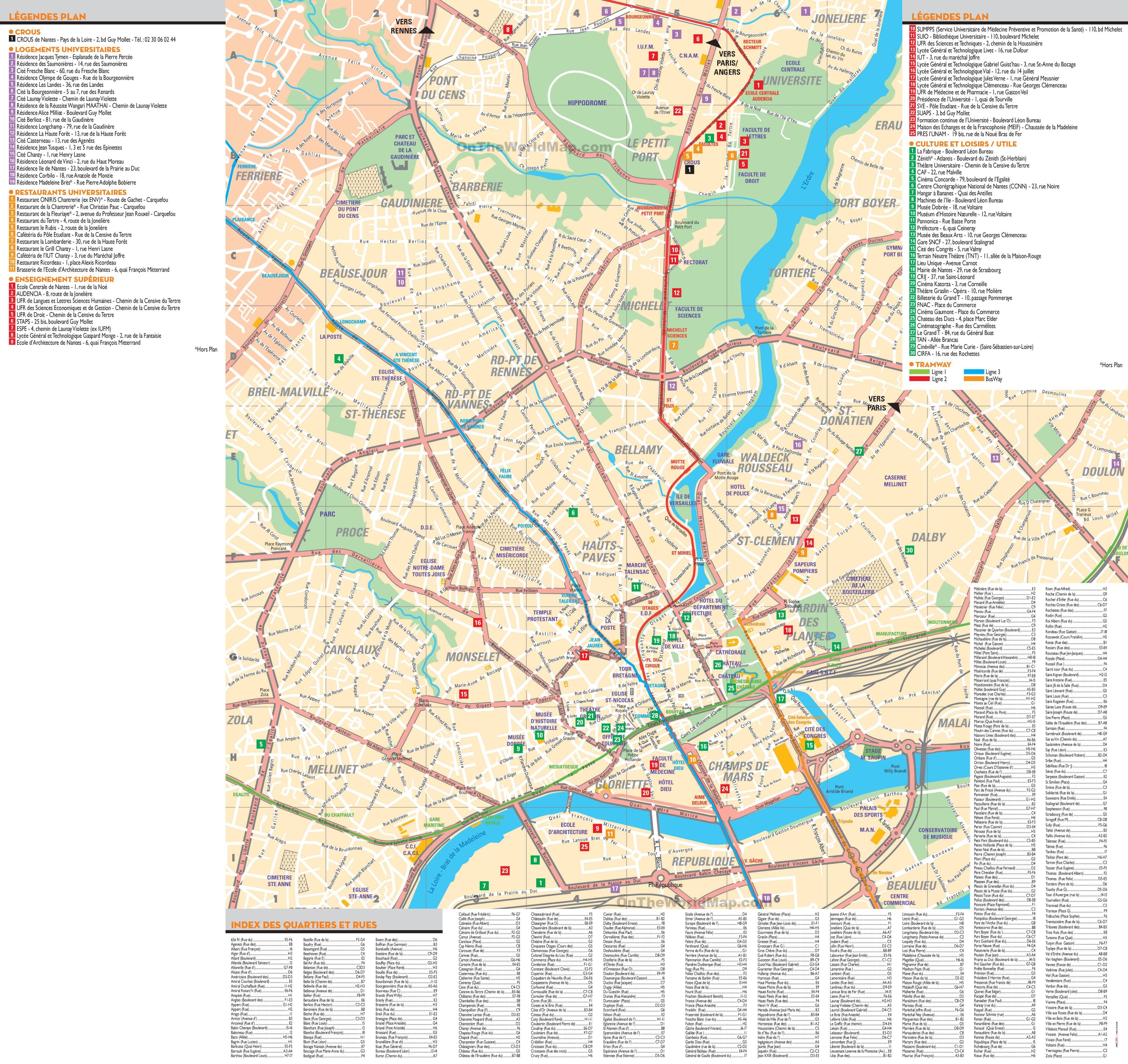 Carte de nantes en loire atlantique cartes et plan de nantes for Carte touristique