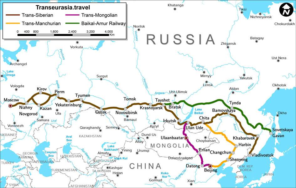 Carte du trajet du Transsibérien