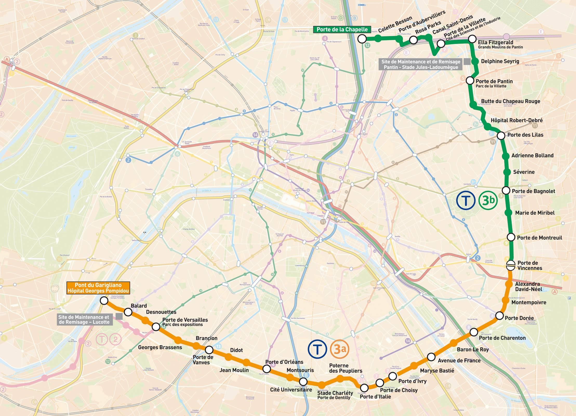 Carte de paris carte touristique et plan de paris - Paris gare de lyon porte de versailles ...