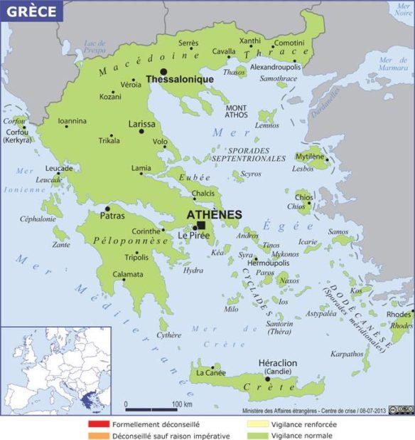 Carte des villes de la Grèce