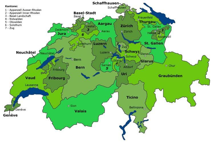 Carte des cantons de la Suisse