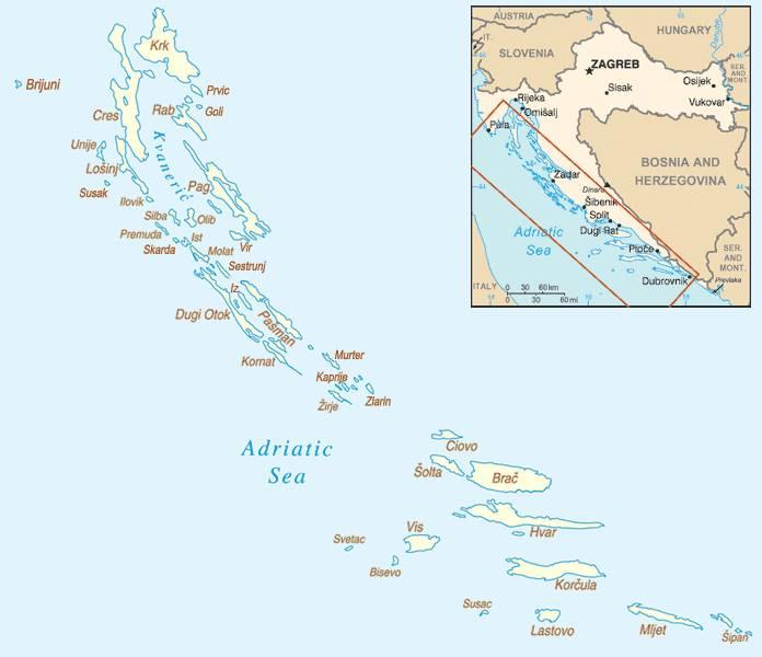 Carte des iles Croates