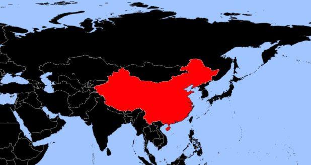 Chine sur une carte d'Asie
