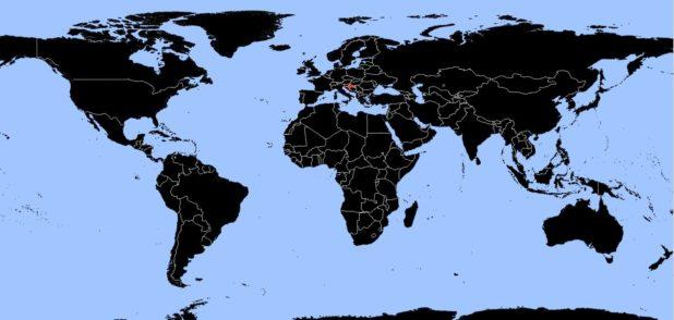 Croatie sur une carte du monde