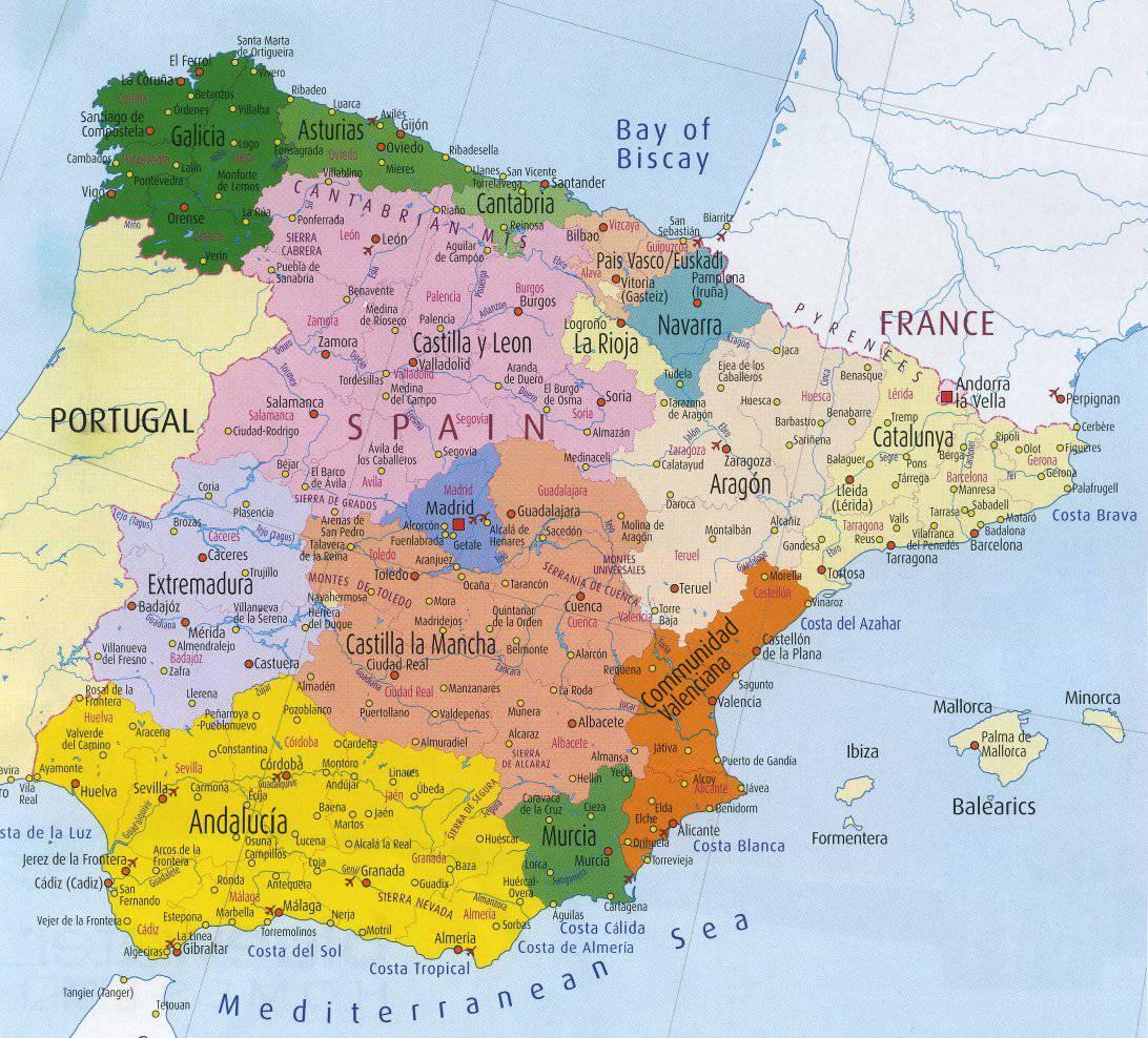 Carte des régions - Espagne