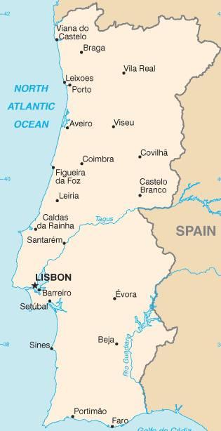 Carte des grandes villes du Portugal