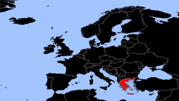 Grèce sur une carte d'Europe