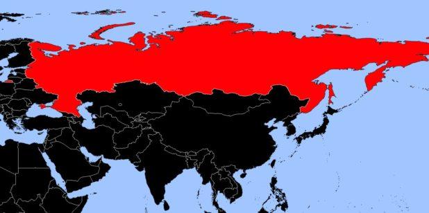 Russie sur une carte d'Asie