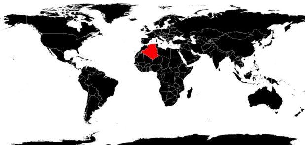 Algérie sur une carte du monde