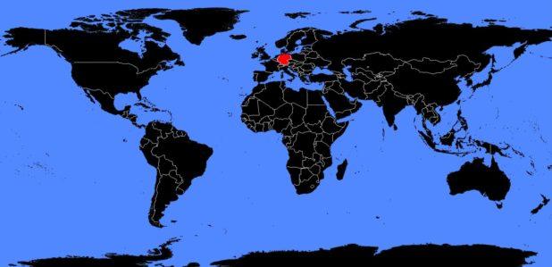 Allemagne sur une carte du monde