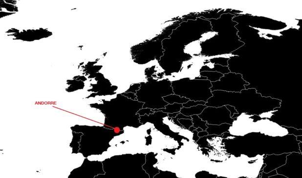 Andorre sur une carte d'Europe