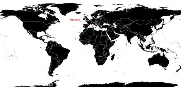 Andorre sur une carte du monde