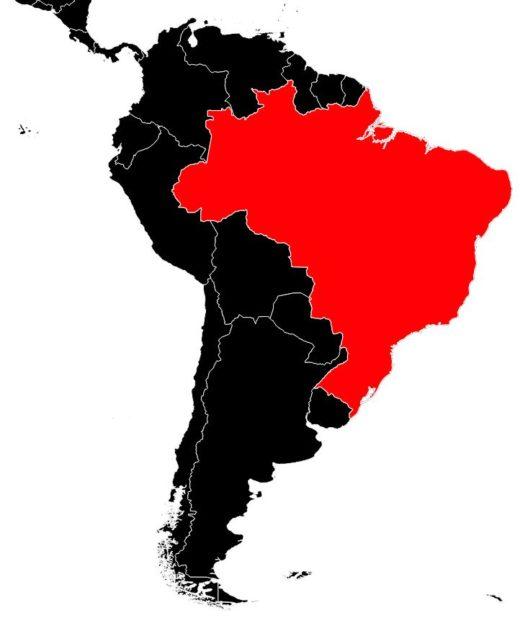 Brésil sur une carte d'Amérique du Sud