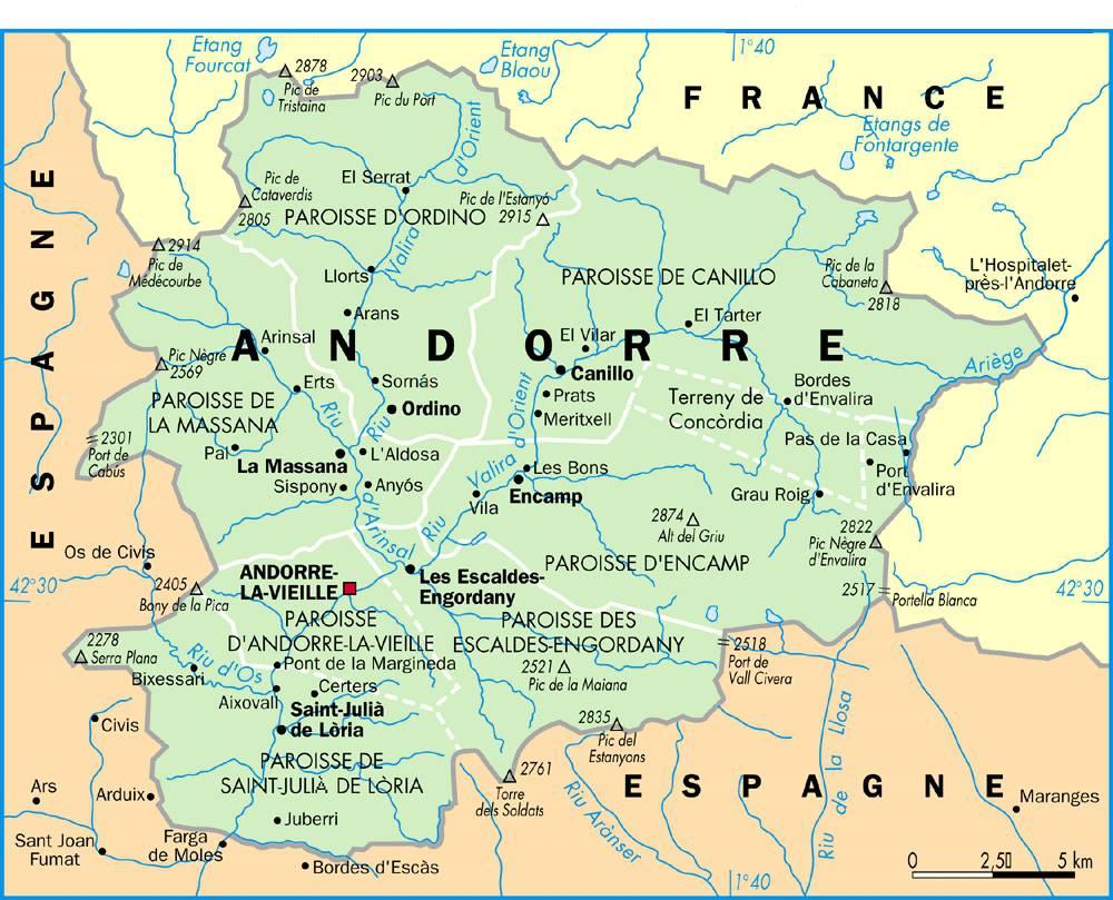 Carte administrative d'Andorre