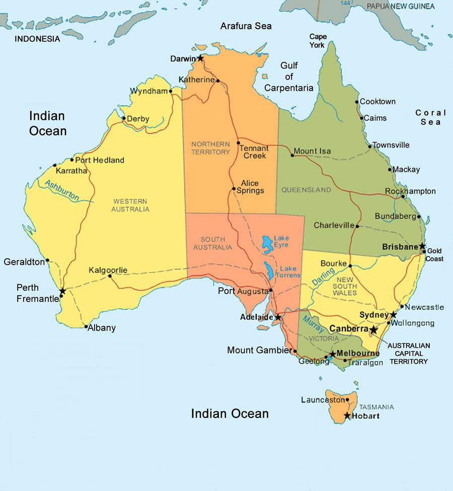 Carte administrative de l'Australie