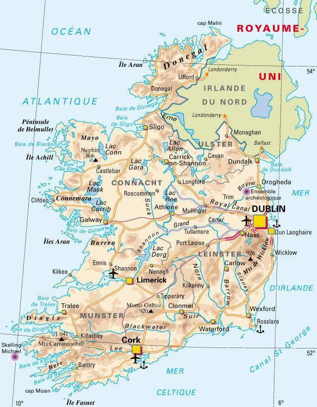 Carte administrative de l'Irlande