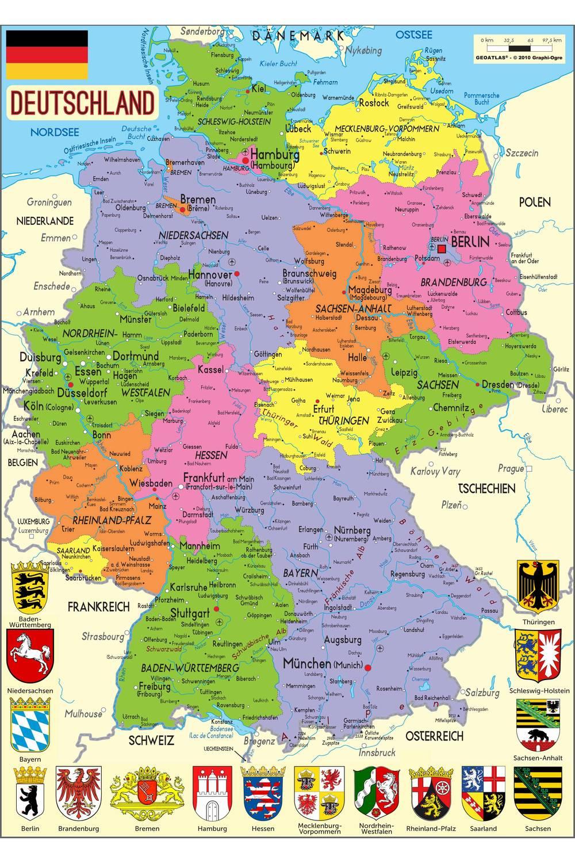 Carte administrative de l'Allemagne
