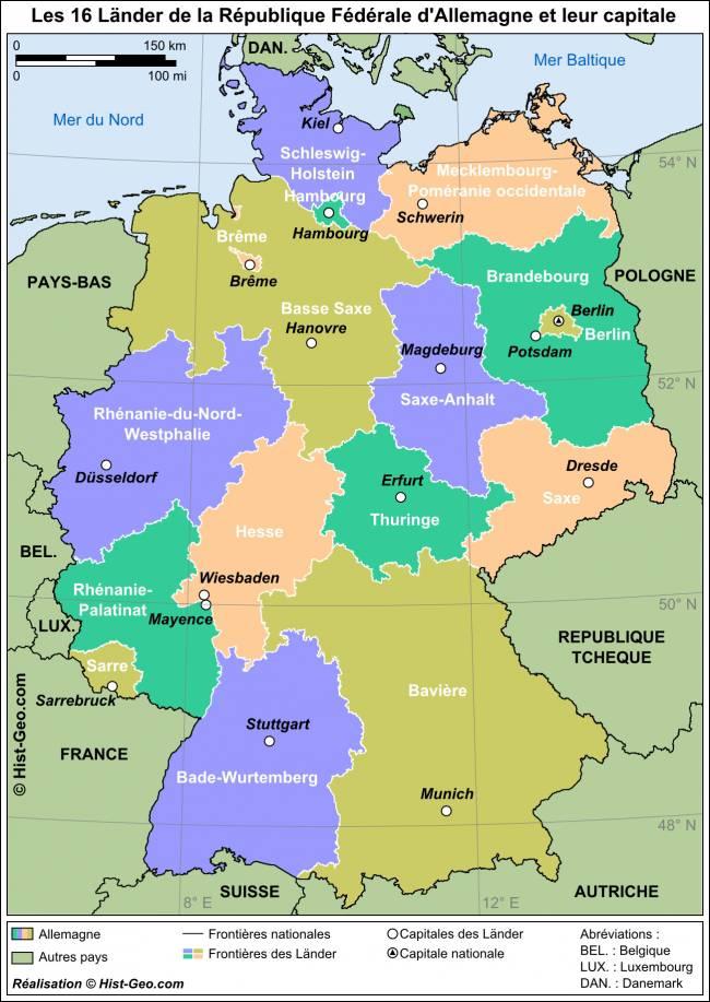 Carte des Länder en Allemagne