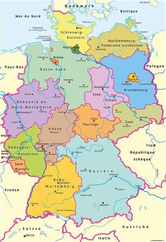 Carte Allemagne Lander.Carte De L Allemagne Carte Des Villes Du Relief Des