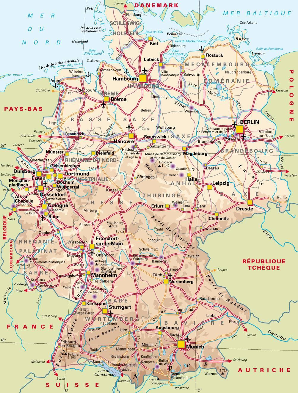 Carte Allemagne Avec Lander.Carte De L Allemagne Carte Des Villes Du Relief Des