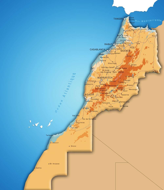 Carte altitude du Maroc