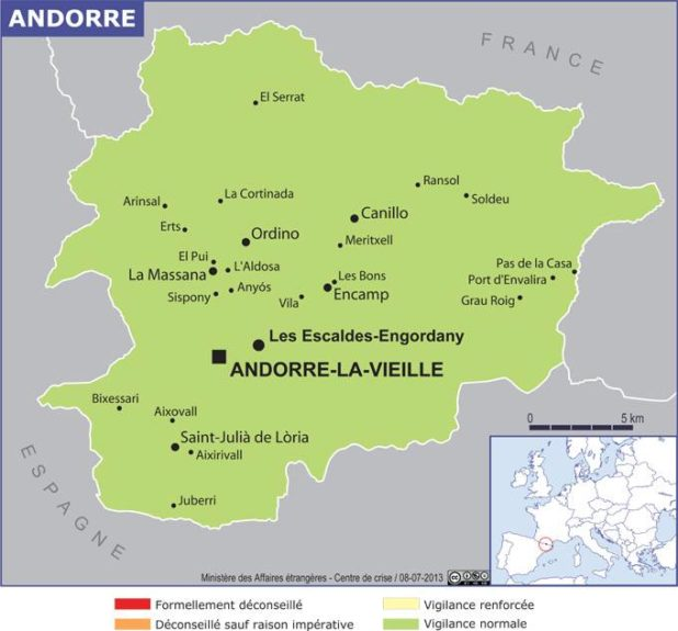 Carte de l'Andorre