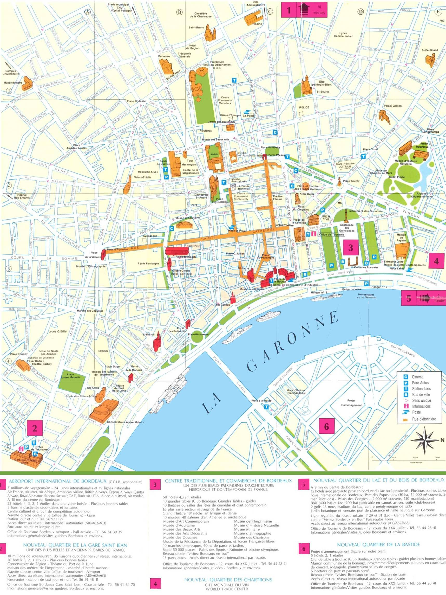 Carte de Bordeaux pour le tourisme