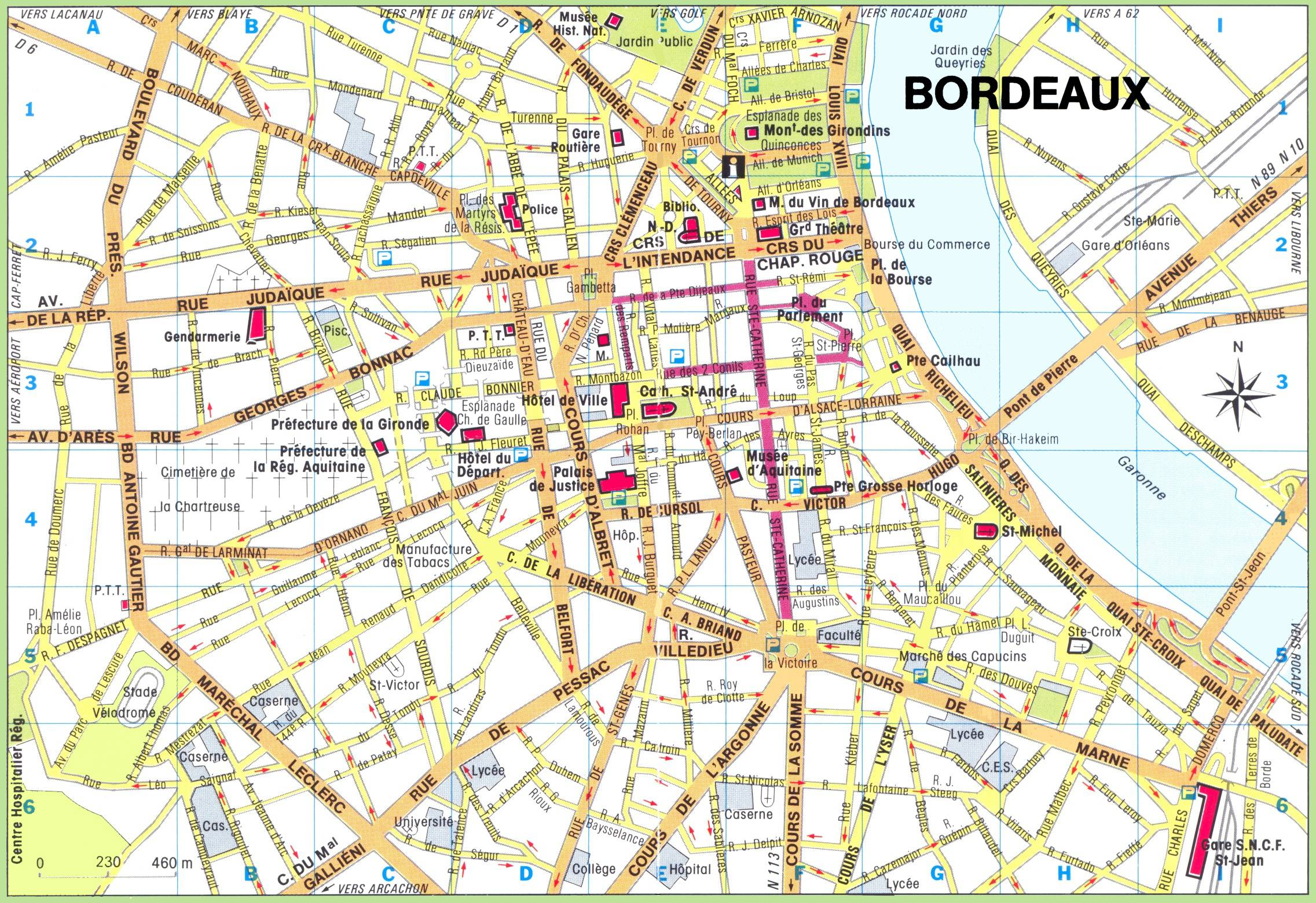 Carte du centre-ville de Bordeaux