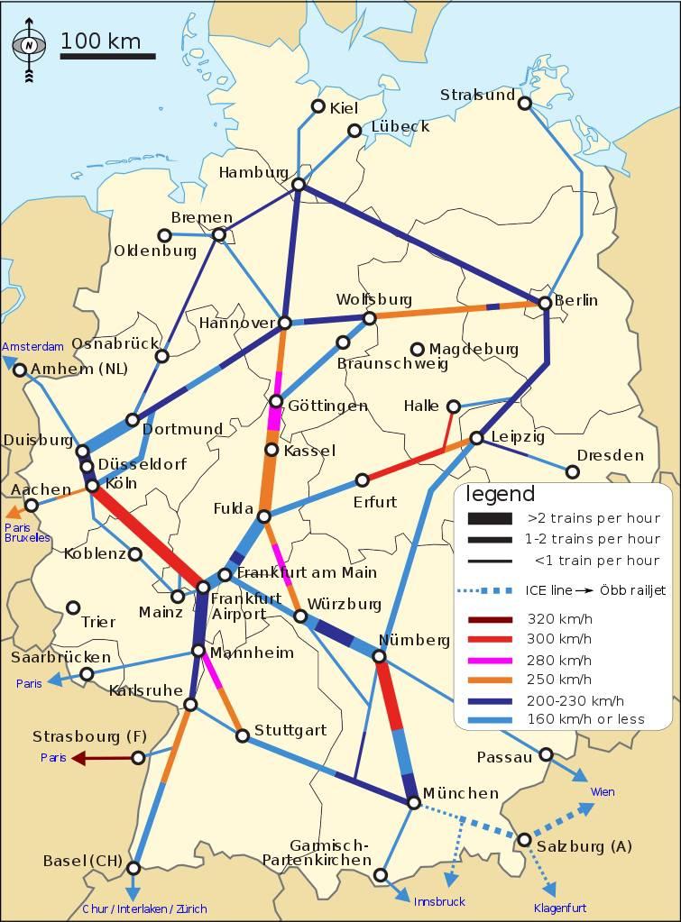 Carte des chemins de fer en Allemagne