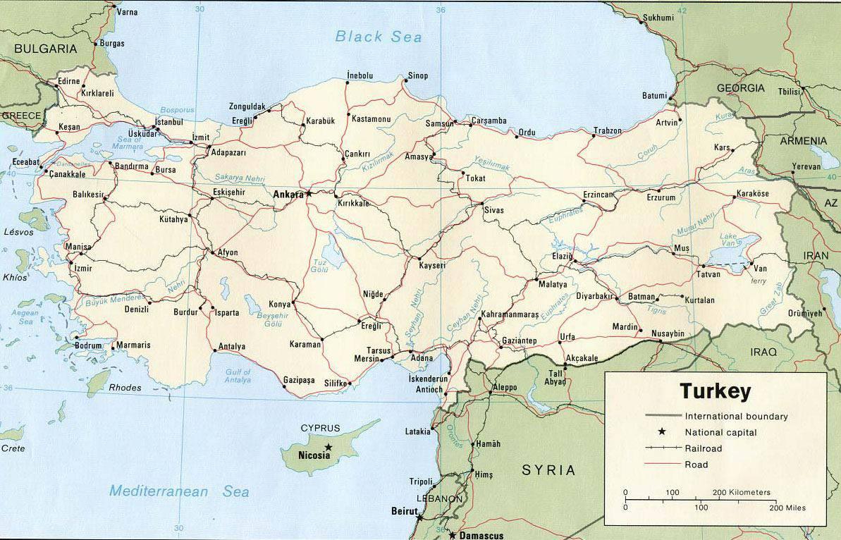 Carte des chemins de fer en Turquie