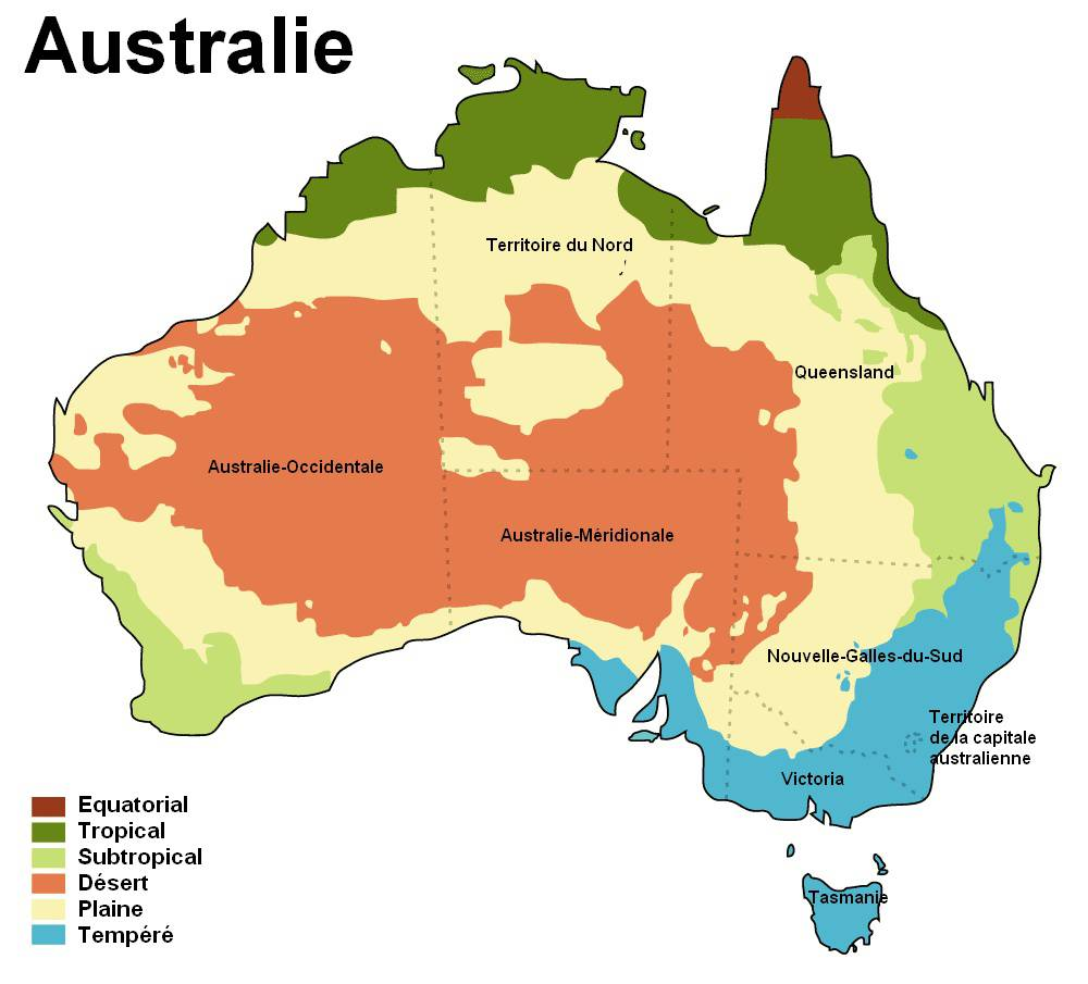 Carte du climat en Australie