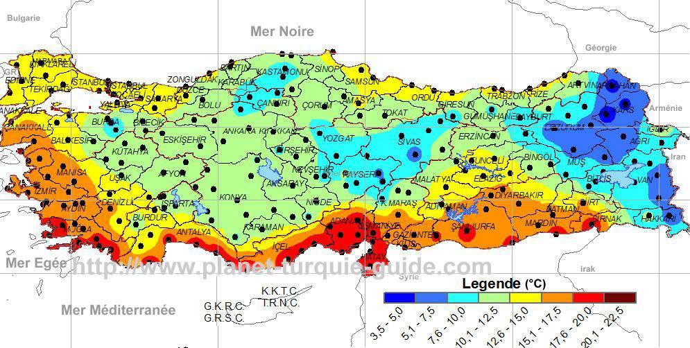 Carte du climat en Turquie