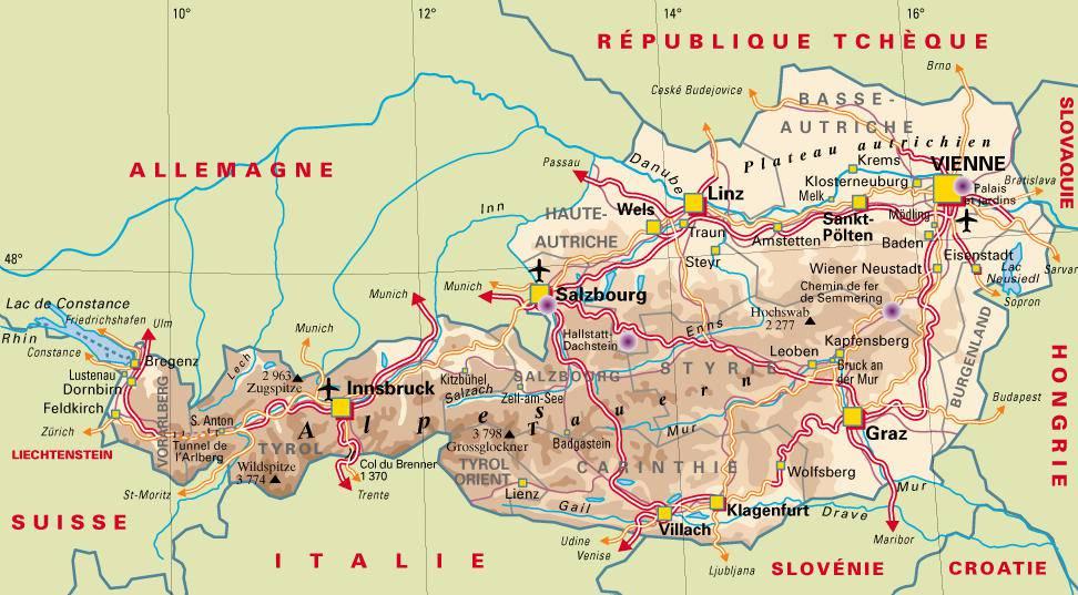 Carte adminjstrative de l'Autriche