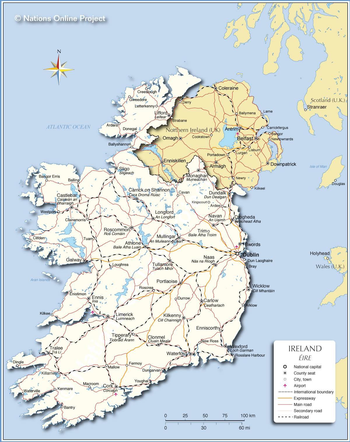 irlande du sud carte Carte de l'Irlande   Carte routière, relief, climat, tourisme