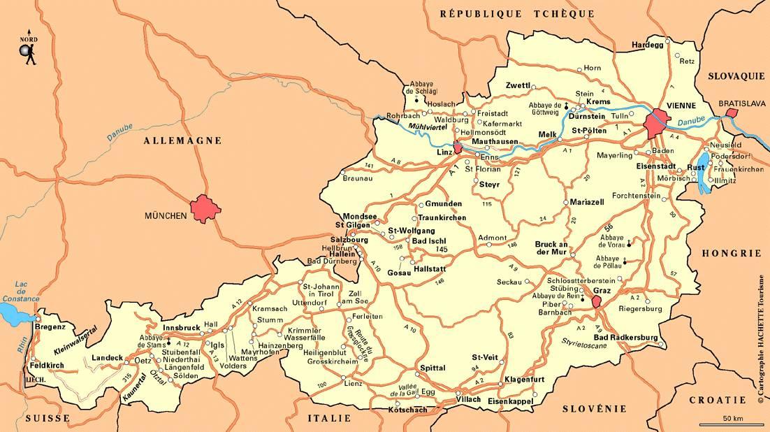 Carte des autoroutes en Autriche