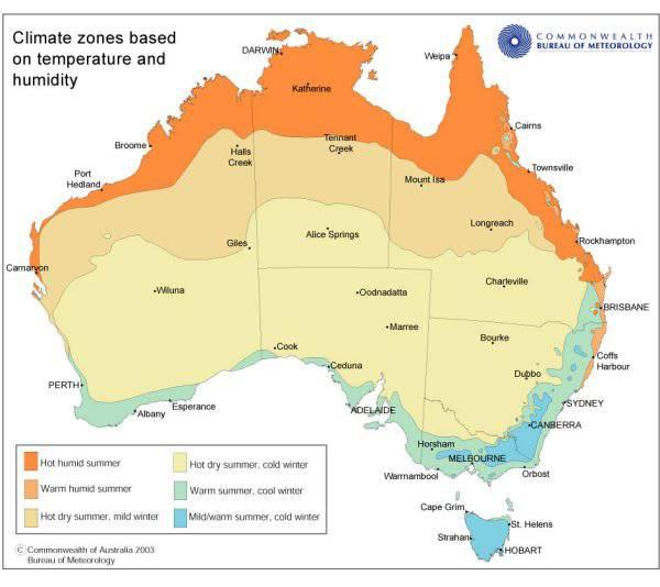 Carte des différents climats en Australie