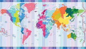 Carte des fuseaux horaires dans le monde