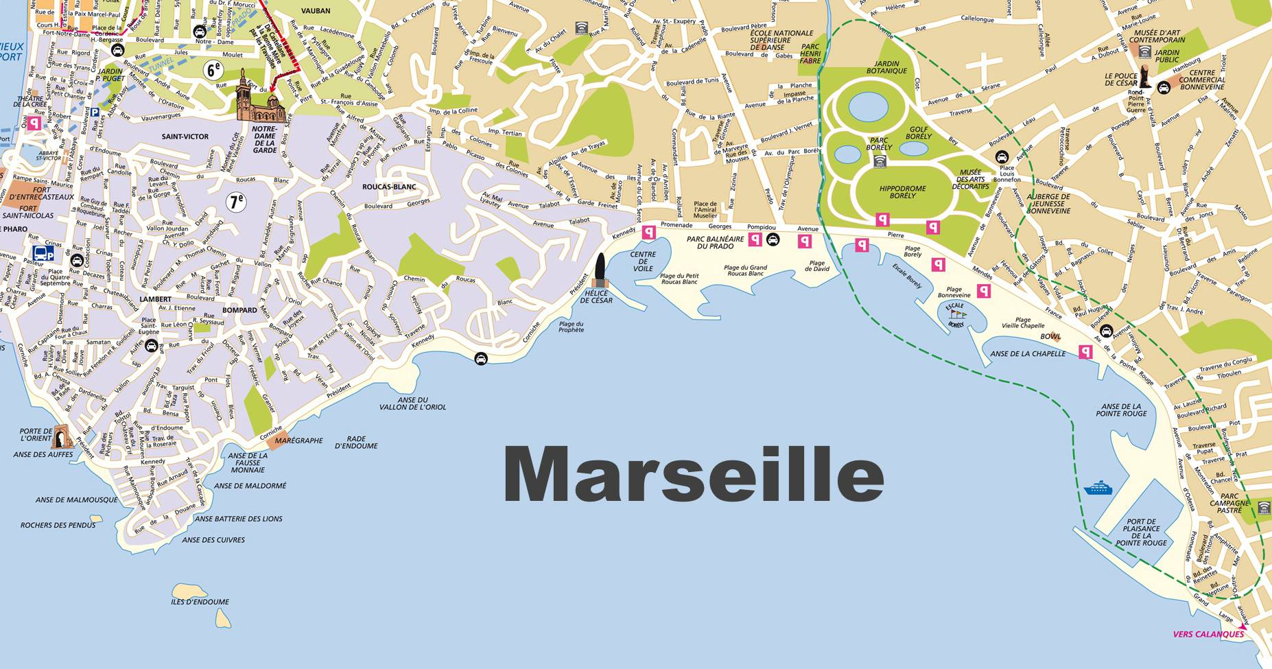 Carte des plages à Marseille