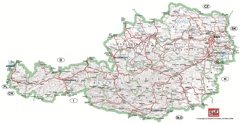 Carte détaillée de l'Autriche
