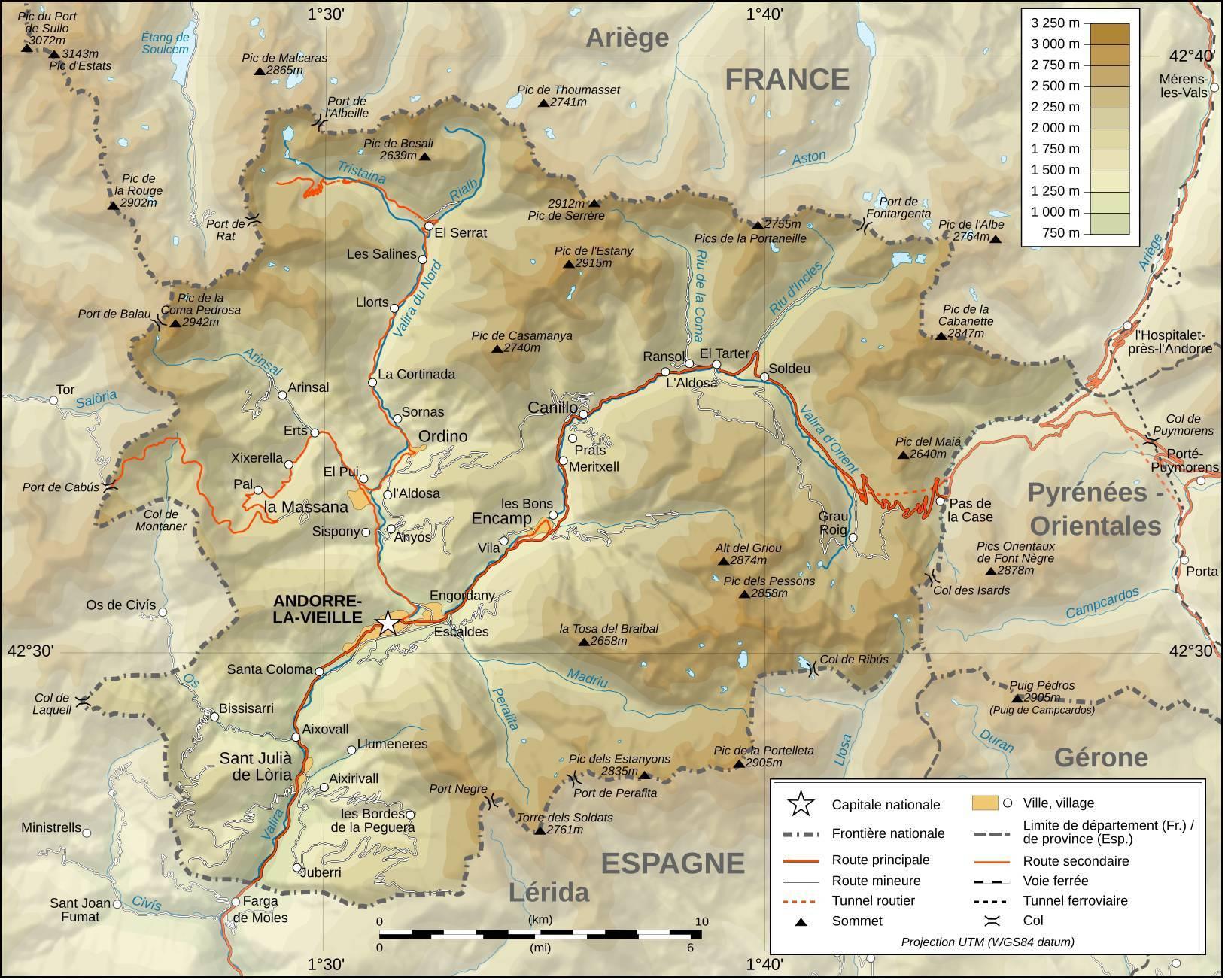 Carte du relief d'Andorre