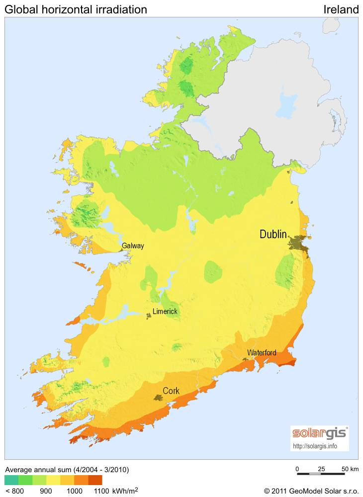 Carte ensoleillement en Irlande