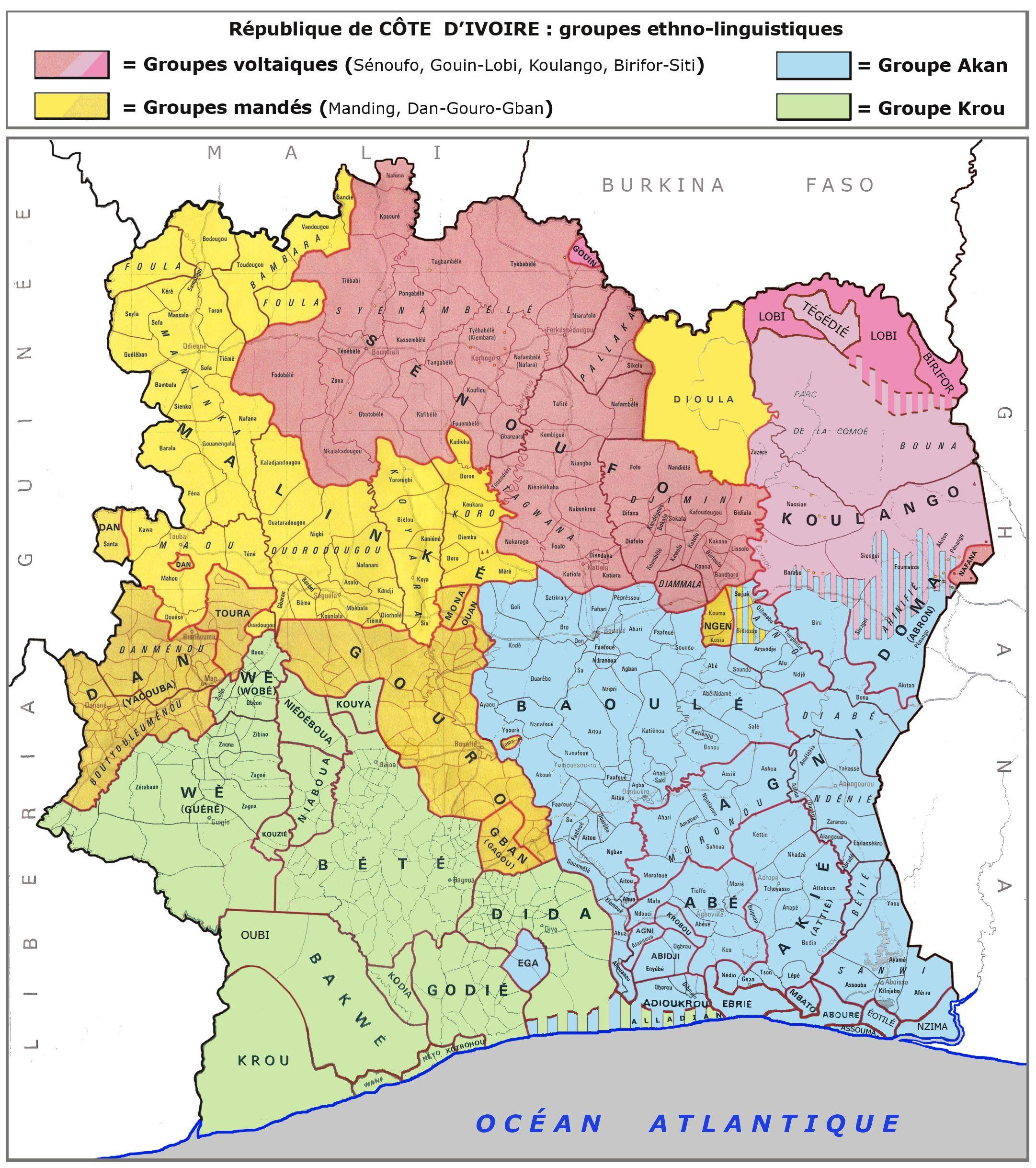 Carte des éthnies de la Côte d'Ivoire