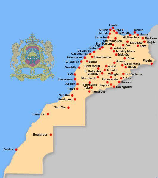 Carte des grandes villes du Maroc
