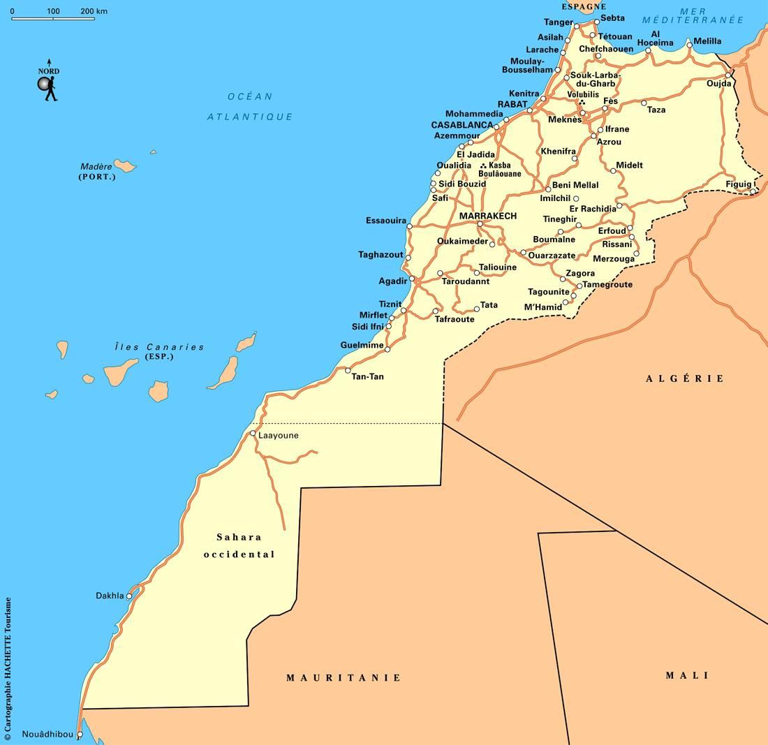 Carte des grandes routes du Maroc