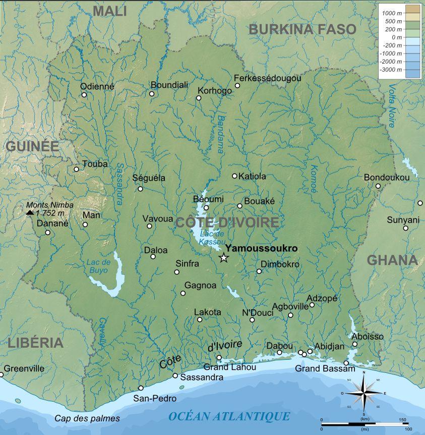 Carte physique de la Côte d'Ivoire