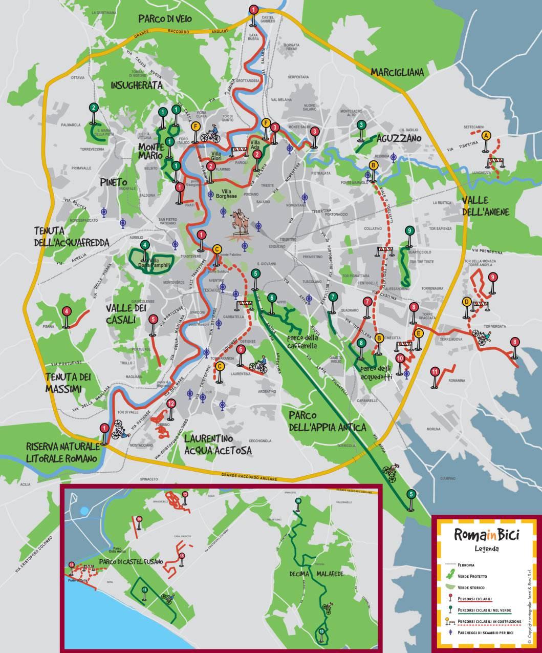 Carte des pistes cyclables à Rome