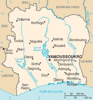 Carte politique Côte d'Ivoire