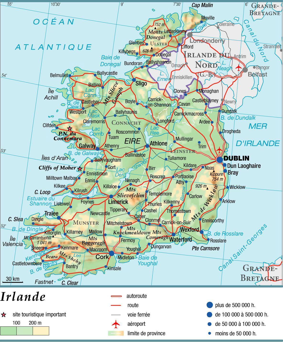 Carte de l'Irlande   Carte routière, relief, climat, tourisme
